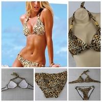 New swimwear leopard women victoria style swimsuit bikini push up bathing suit womens biquini set,free shipping C1003