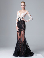 Yarn deep V-neck sexy lace transparent long-sleeve long design formal dress cutout perspectivity color block lace formal dress