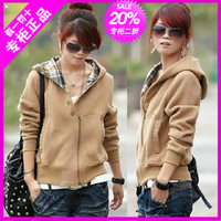 2014  spring  outerwear  plus velvet hooded casual cardigan sweatshirt short jacket free shipping