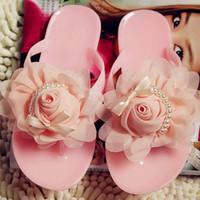 Women's Sandals 2014 Summer Beach Flower jelly shoes pink rose women's candy color flip flops flat sandals slipper