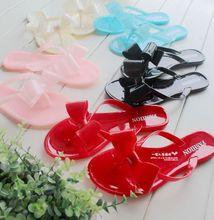 Women's Sandals melissa style 2014 Summer Beach fashion women's bow flat heel flip flops beach slippers flip femal shoes(China (Mainland))
