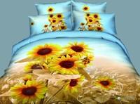 New Beautiful 4PC 100% Cotton Comforter Duvet Doona Cover Sets FULL / QUEEN / KING bedding set 4pcs sunflower blue
