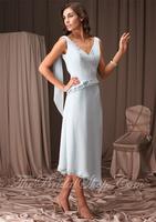 Stylish Delicate Design A-line Wide Straps Watteau Ruffle Chiffon Tea-length Bridesmaid Dresses BD263