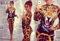 2014 Spring Summer Set Animal Leopard  3D Print T Shirt , Summer Sport Tiger Shirt ,Women Sleeve Sweatshirt