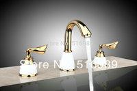 Luxury   Unique Design 96188/1 3 pcs Beautiful Model Golden Bathtub Tap Faucet Mixer Bathtub Basin Faucet