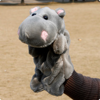 Free shipping Animal hand puppet toys Cute hippo  Gloves doll Storytelling props Birthday Gift