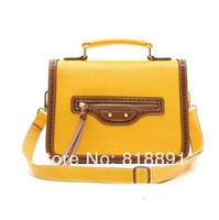 New 2014 HOT Vintage High Grade Color-contrast Branded Cow Leather Handbag Single Shoulder Bag  Wholesale