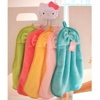 34*31cm Cute Bow Solid Color Water-Absorbing Thickening Bathroom Hanging Towel Anti-Oil Kitchen Towel