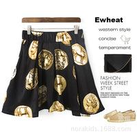 Free Shipping! N2307 spring 2014 new Roman COINS printing joker bust skirt restoring ancient ways skirts 2 colors