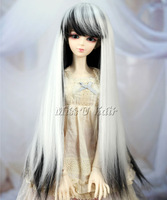 "8-9"" 1/3 BJD Wig Dollfie doll wig BJD SD AOD DZ LUTS Long Straight black and white (1/4 1/6 1/8 in stock)"