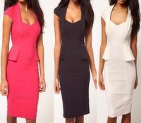 High Quality Drop Shipping Classic Career Vintage Dress Turn-down Collar Knee Length Bodycon Women Work Wear Pencil Dress S-XL
