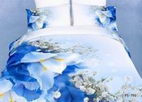 New Beautiful 100% Cotton 4pc Doona Duvet QUILT Comforter Cover Sets bedding set Full Queen King 4pcs blue white flower op-34