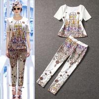 Free shipping 2014 spring and summer women's runway fashion digital print short-sleeve Blouse  top +pencil pants twnset