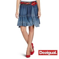 Summer desigual women's 100% irregular cotton thin denim short skirt bust skirt