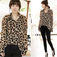 leopard blouse Sexy shirt Women Clothing Long Sleeve Button Leopard print Chiffon Casual dress Tops Ladies Blouses Shirts M L XL