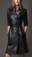 Genuine Leather Women Outerwear Winter Autumn Black Slim Long Women Trench Jacket Coat S M L XL XXL