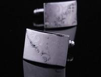 Laser decorative pattern electroplating cufflinks, Men's cuff links AS-3