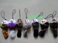 Mink hair pure small fox fur mobile phone chain keychain accessories