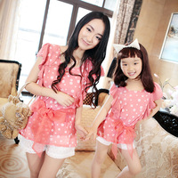 Family fashion summer 2014 ruffle hem red polka dot print short-sleeve top summer clothes for mother and daughter