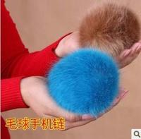 Fox fur hair ball rabbit fur mobile phone chain plush bags accessories