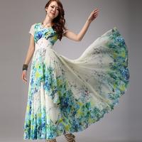 2014 woman dress summer fashion long design print one-piece dress bohemia chiffon floor length dress