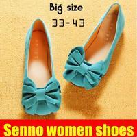 2014 velvet flower women's flat round toe single shoes flat heel dipper shoes bow genuine leather plus size women's shoes