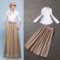 Free shipping 2014 spring /summer brand women's fashion Turn-down collar white long-sleeved shirt Top+Khaki Skirt suits twinset