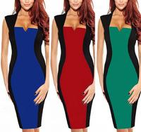 2014 New Fashion Summer Elegant Sleeveless V-Neck Sheath Women Casual Dress Knee Length Patchwork Sexy Brief Party Dress S-XL