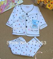 2014 Baby Sets Full Sleeve Bear Cartoon O-neck Character Fashion 100% Cotton White Newborn Kids Clothing Set Free Shipping YE001