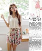 Free shipping 2014 summer Women Dress Women Flower Blat Chiffon Dress Women Clothing summer