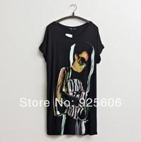 Hot Sale F0556 Women Summer Loose Short Sleeve Thin Stretch Punk Beauty Lady Print Dress Cotton Long T shirt Tops Free Size