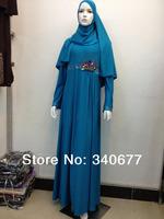 2014 New Rhinestone Concise Muslim Clothing,Islamic Abaya In Dubai,Fashion Arabic Jilbab Free Shipping
