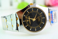Rhinestone disc commercial male gold quality steel watch quartz gift table 152683