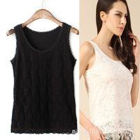 Free Shipping! 2014 ladies all lace lace joker vest Silk is hollow-out render condole belt unlined upper garment vest N2060