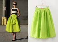French Vintage Pleated Neon High Waist New Spring 2014 Bust Skirt Female Medium Skirts Long Summer Women Skirt Drop Shipping