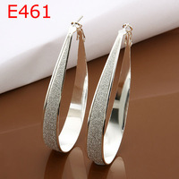 Charms Fashion 925 Sterling silver Frosted Hoop Earrings for Women fashion Jewelry Wholesale ,Promotion price E461