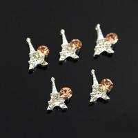 2014 New 3D Rhinestone Nail Jewelry Eiffel Tower Nail Art Decorations Alloy DIY Decoration 100Pcs Wholesale