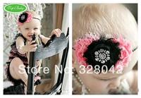 Trail order 2014 triple shabby chiffon flower headbands baby girl ribbon bow rhinestone headbands hair accessories 20pcs/lot