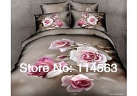 New Beautiful 4PC 100% Cotton Comforter Duvet Doona Cover Sets FULL / QUEEN / KING SIZE bedding set 4pcs white red  grey OP-35