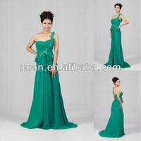 2013 Exquisite Designer's One-Shoulder A-line Ruffle Beaded Prom Dress