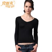 Slim top women's V-neck soft modal long johns breathable skin-friendly basic shirt