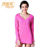 Women's comfortable loose breathable lounge women's slub yarn soft V-neck long-sleeve polo shirt