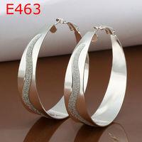 Lose money Promotion! Wholesale 925 silver earrings,925 silver top quality Frosted Hoop Earring fashion jewelry,Ivan jewelryE463