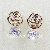 Top Quality Stud Earrings Real Gold Plated Wedding Earrings Round Cut  AAA Swiss CZ Diamond Earrings A23ER12