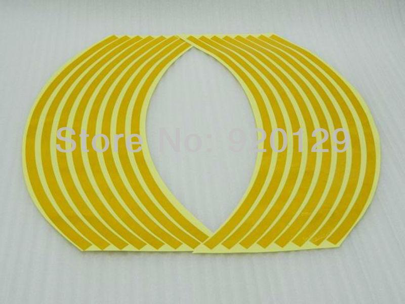 "17"" Yellow Relective Rim Stripe Decal Round Tape For Suzuki GSXR 600 1000 1300(China (Mainland))"