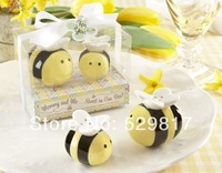 """Mommy and Me Sweet as Can Bee"" Ceramic Honeybee Salt & Pepper Shakers+ 20Set/Lot baby shower favors and gifts +Free shipping"