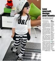 WHolesale 5sets/Lot Unisex Children Clothing sets Long sleeve T shirt + Pant J&L printed Kids clothing sets Sport Suits