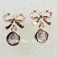 Top Quality Stud Earrings Real Gold Plated Wedding Earrings Round Cut  AAA Swiss CZ Diamond Earrings A23ER11