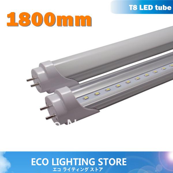 50pcs/lot excellent LED tube 1800mm 26W, G13, 1.8m 6ft fluorescent tubes light 2835 100lm/w CE ROHS FCC office/ supermarket(China (Mainland))