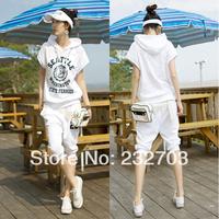 Summer women's Women with a hood slim short-sleeve casual sweatshirt sportswear set